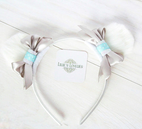 ~*Arctic Fun*~ White Polar Bear Clip Set or Headband - Animal Ears
