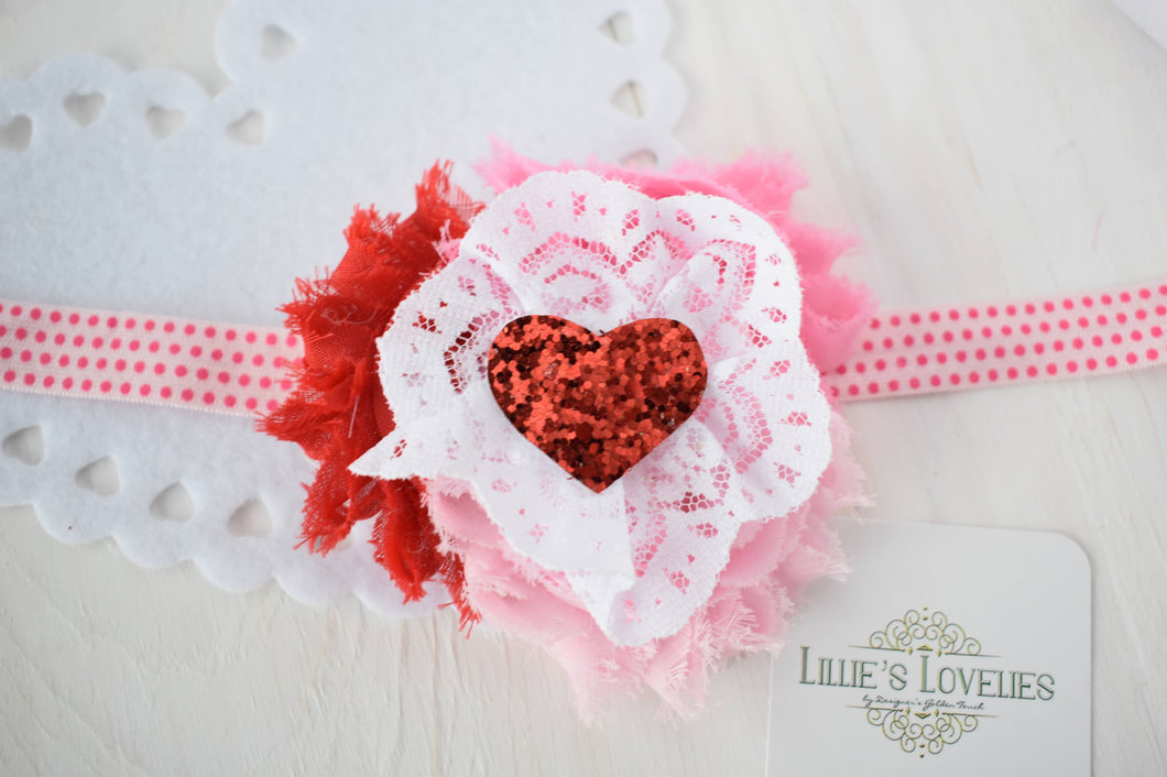 ~*Lovestruck*~ Valentine Dollie & Me Headband or Clip
