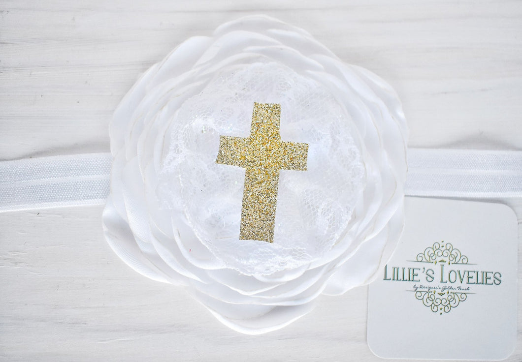~*Risen Indeed*~ Gold Easter Cross Headband or Clip