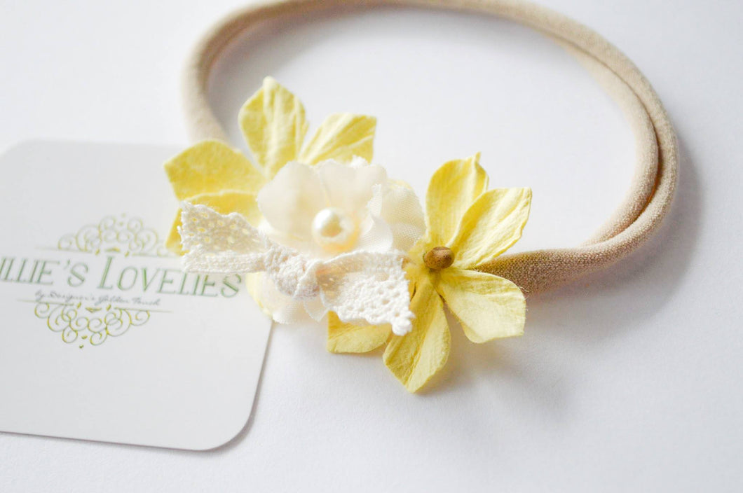 ~*Sunny Days*~ Yellow Floral Mini Crown Headband