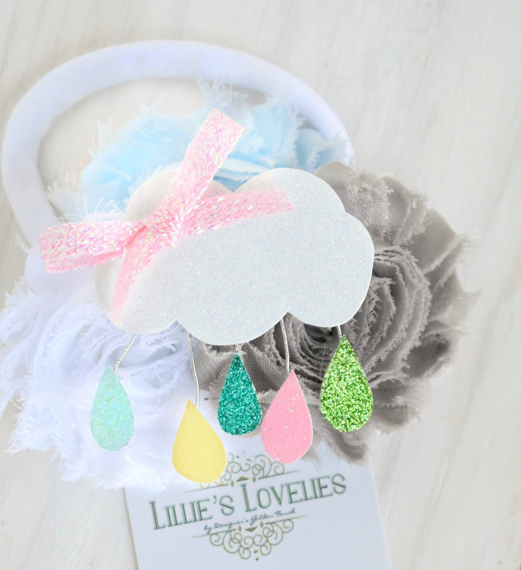 ~* Raindrop Mosaic*~Pastel with Pink Bow Headband or Clip