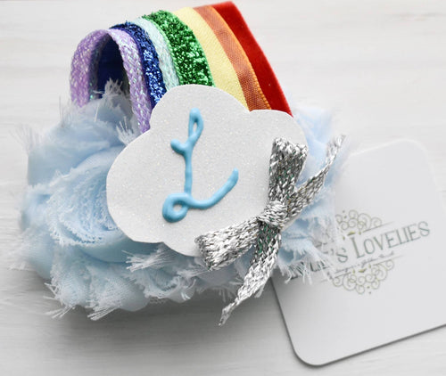 ~* Rainbow Wishes *~ Monogram Primary Colored Headband or Clip