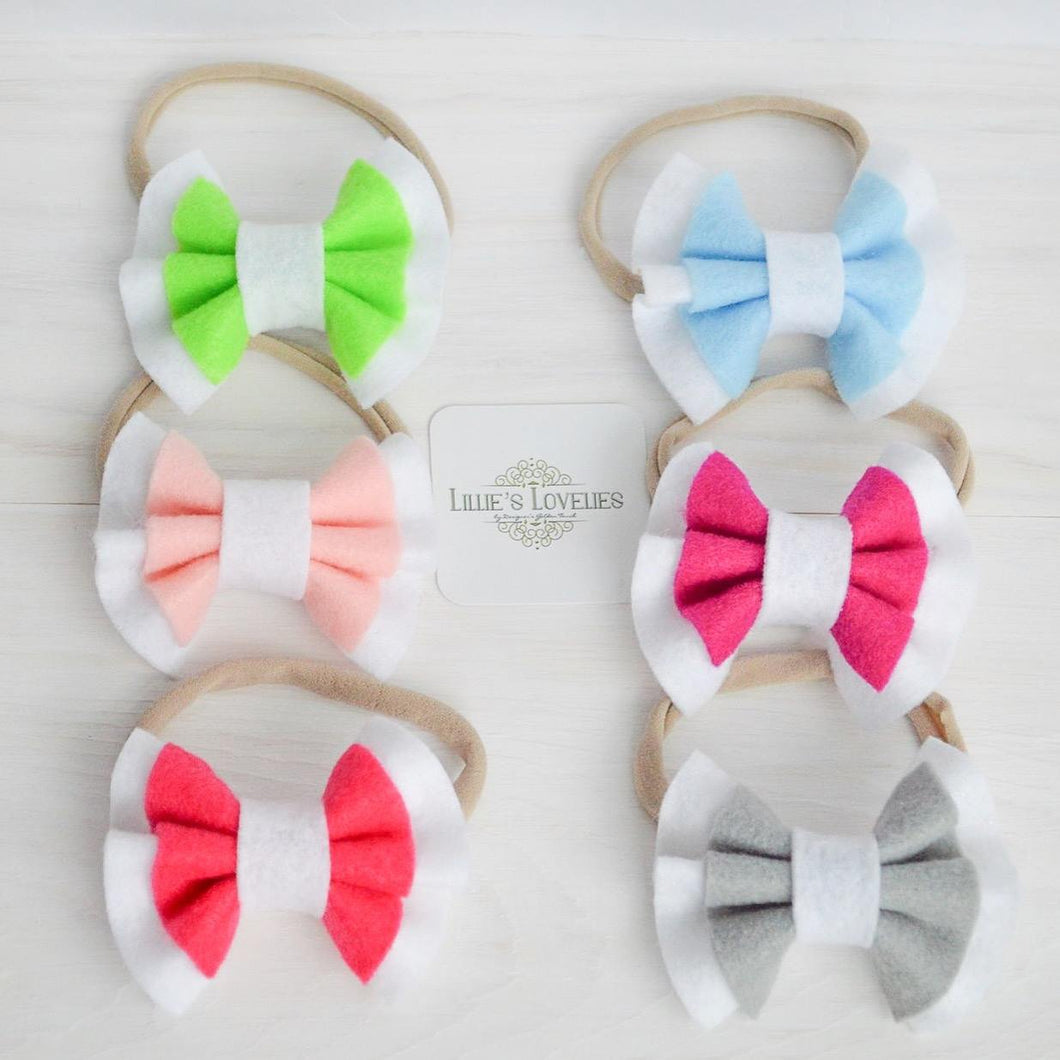 ~*Sweet Sorbet*~ Double Ruffle Felt Bows Headbands - Lots of Colors!