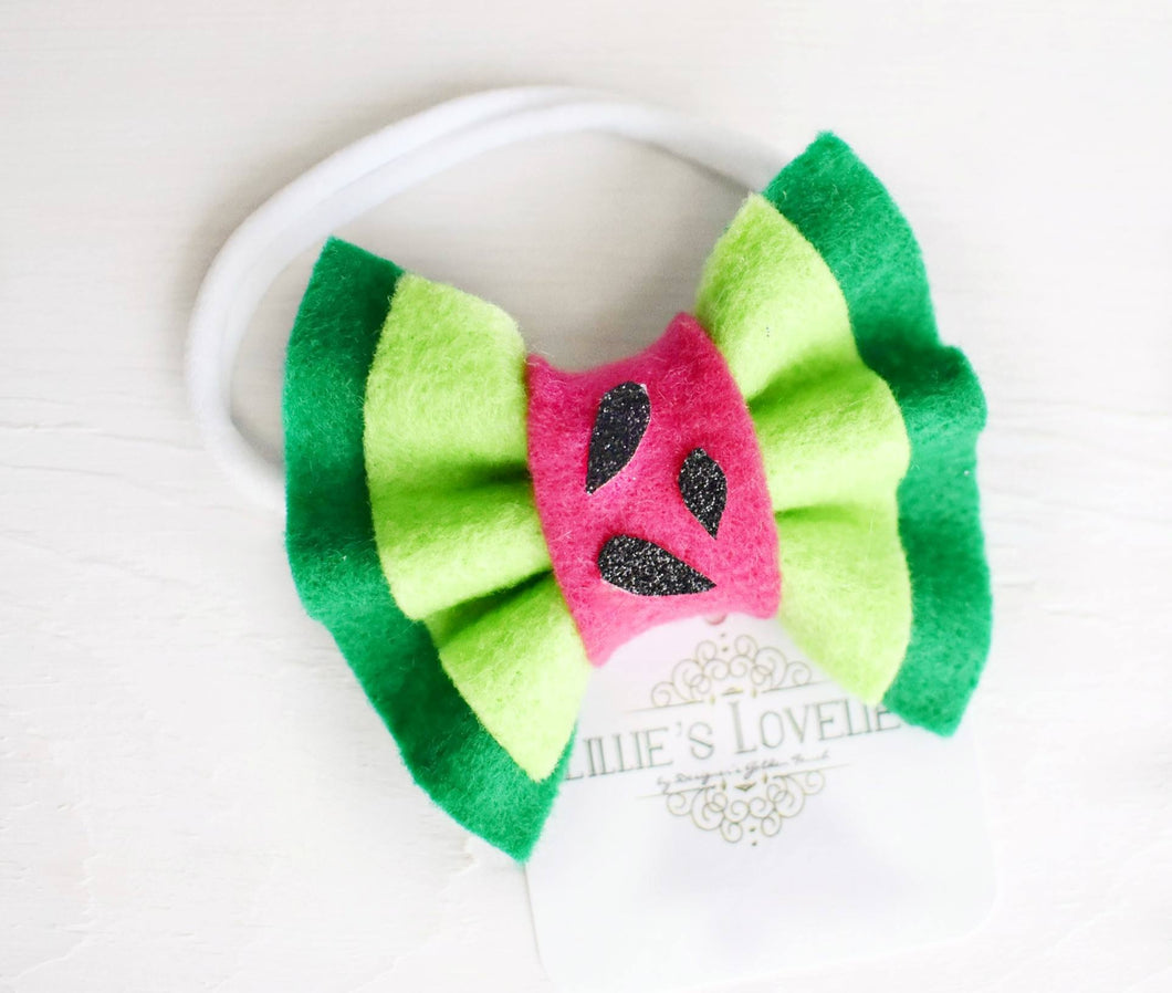 ~*County Fair Cutie*~ Watermelon Double Ruffle Felt Bow