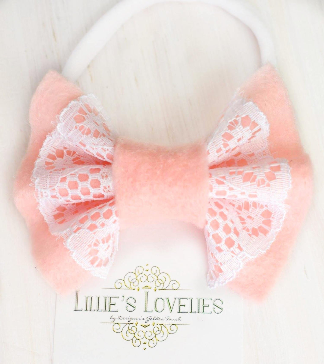 ~*Sweetheart*~ Pink Lace Felt Bow Clip or Headband