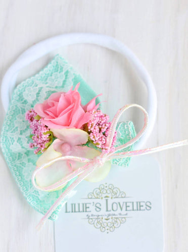 ~*Easter Bouquet*~ Mint and Pink Floral Mini Crown Headband