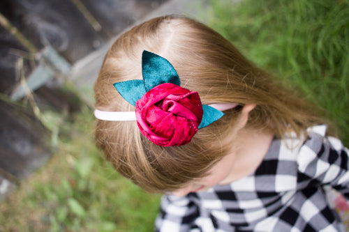 ~*Belle*~ Velvety Red Rose Headband or Clip