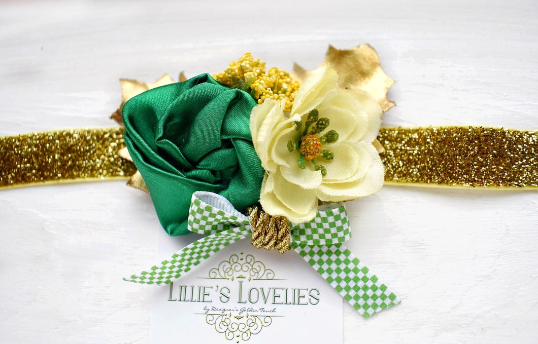 ~*Shamrock Bouquet*~ Floral Headband or Clip