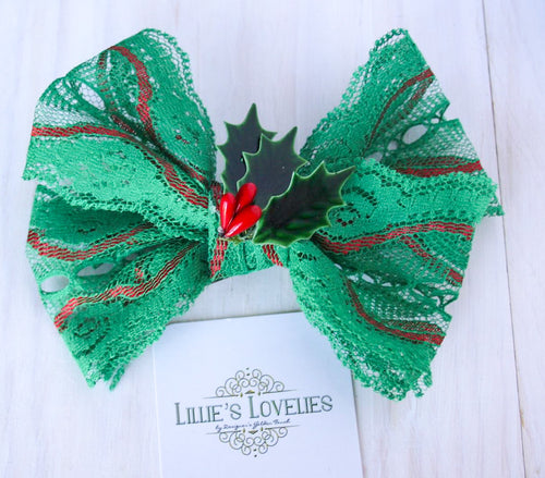 ~*Green Lace Winter*~ Holiday Headband or Clip