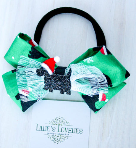 ~*Santa Scottie*~ Holiday Headband or Clip