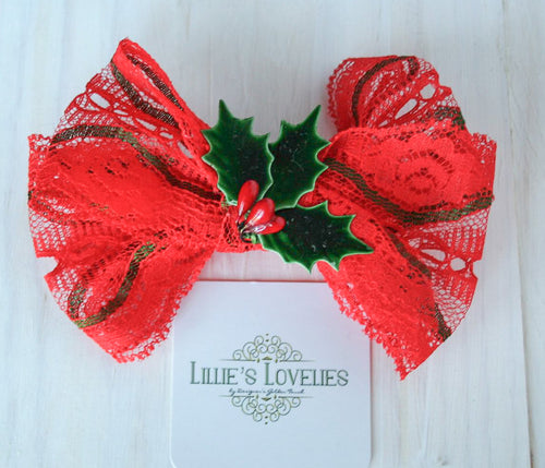 ~*Red Lace Winter*~ Holiday Headband or Clip