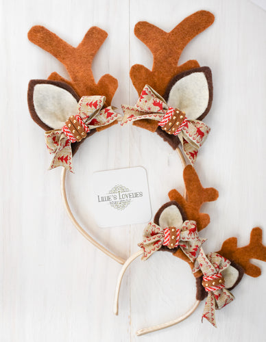 ~*Rudolph*~ Holiday Reindeer Animal Ears for Ladies, Girls, & Dolls