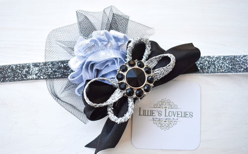 ~*Glitzy*~ Silver & Black New Years Headband Or Clip