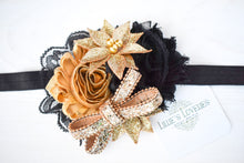 ~*Dazzler*~ Black & Gold New Years Headband Or Clip