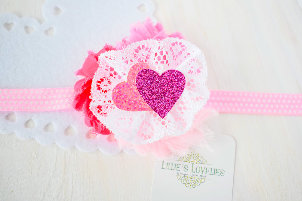 ~*Lovestruck Pink*~ Valentine Headband or Clip