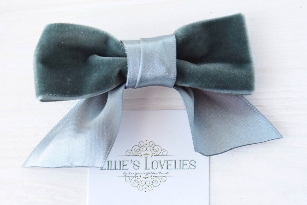 ~*The Annalie Bow*~ Satin Velvet Clips or Headbands- 5 Colors!
