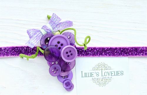 ~*Gorgeous Grapes*~ Button Headband or Clip