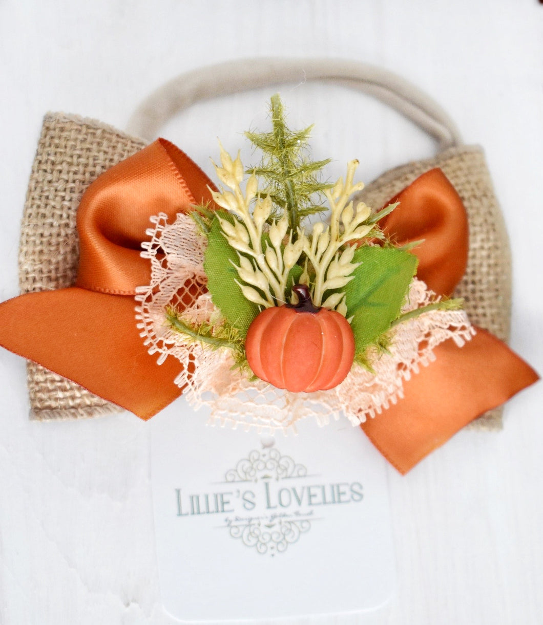 ~*Pumpkin Prailine*~ Fall Headband Or Clip