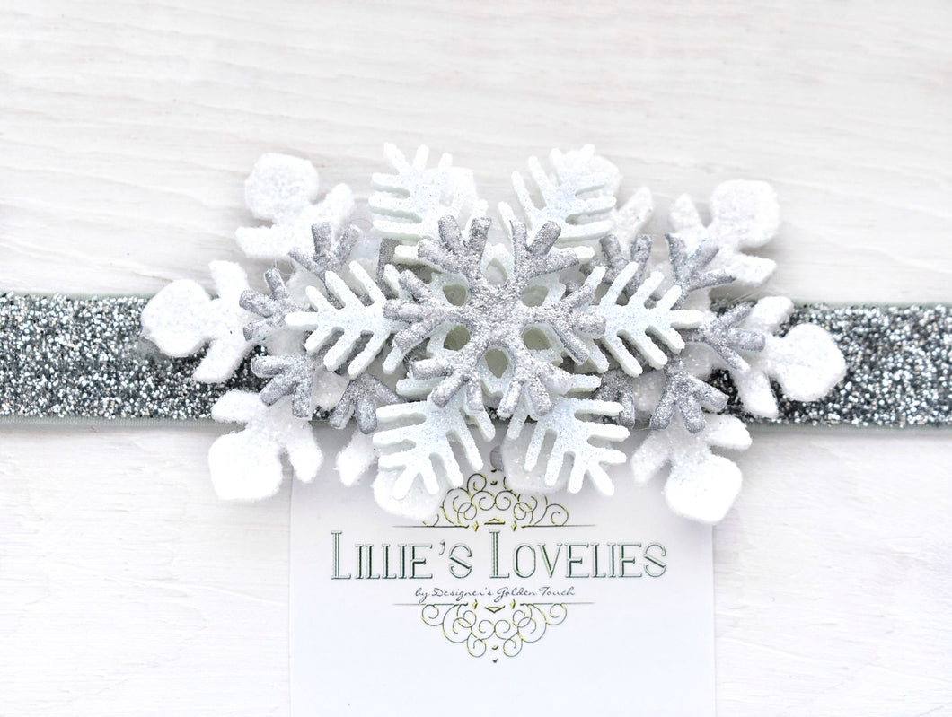 ~*Frosted Winter*~ White and Silver Headband or Clip