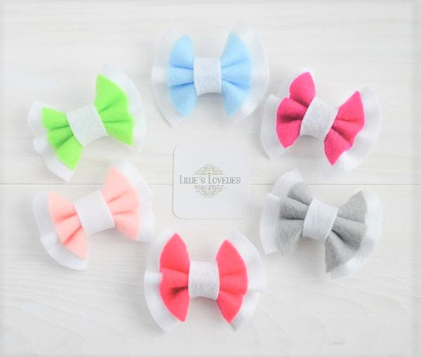 ~*Sweet Sorbet*~ Double Ruffle Felt Bows CLIPS- Lots of Colors!
