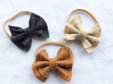 ~*Timeless Cutie*~ Neutral Double Ruffle Felt Bow Set