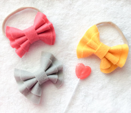 ~*Funsicle*~ Double Ruffle Felt Bows