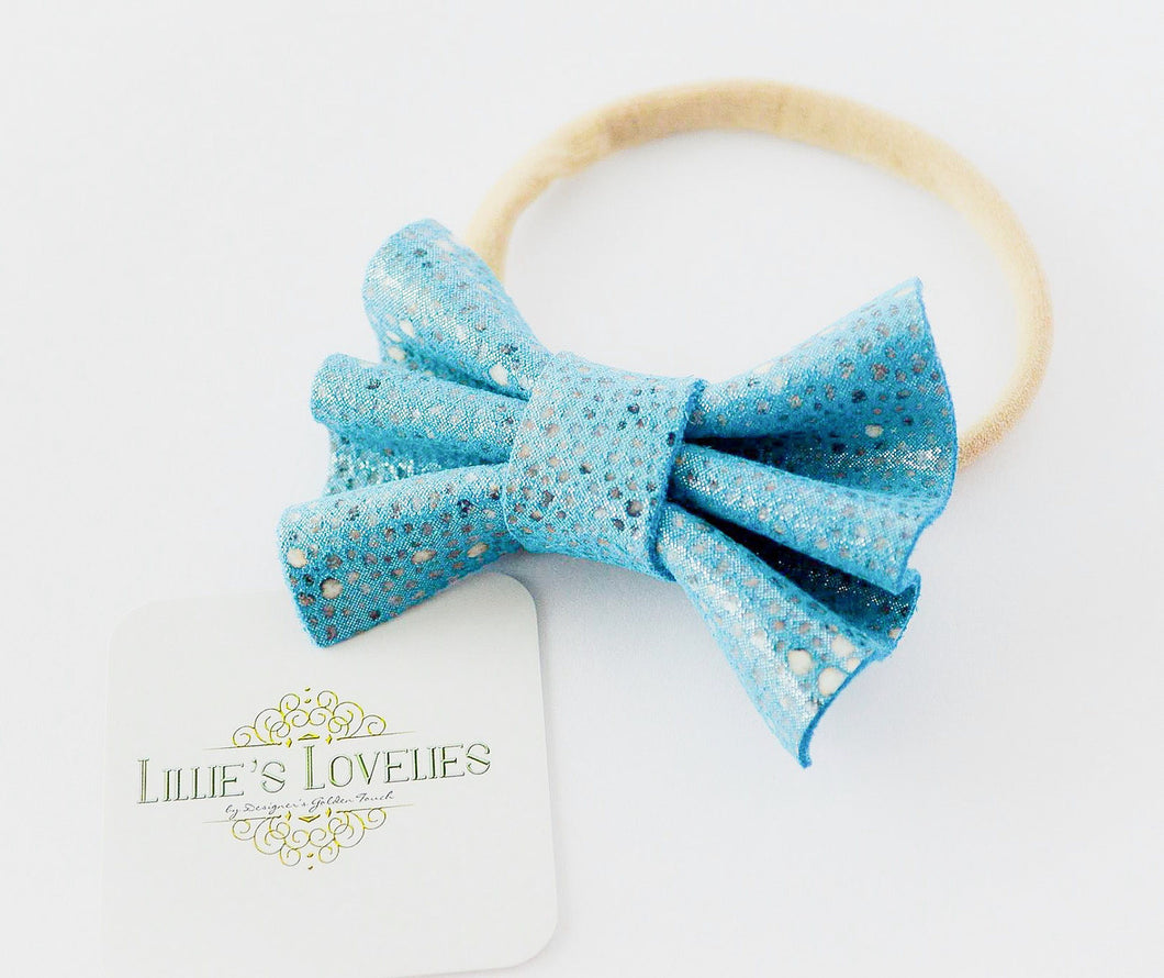 ~*Blue Lagoon*~ Leather Blue Headband or Clip