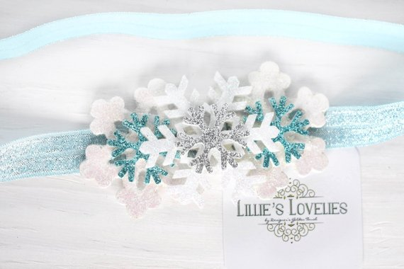 ~*Frosted Winter*~ White and Blue Headband or Clip