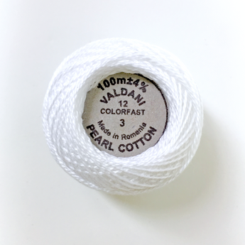 Valdani Solid Perle Cotton size 12 109yd White