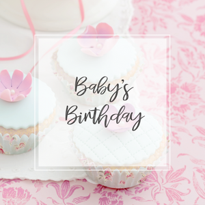 Baby's Birthday collection image title with cupcake background