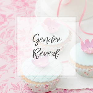 gender reveal collection with pink cupcakes