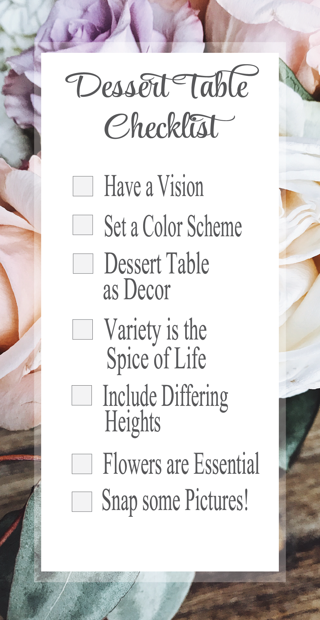 Dessert Table Checklist