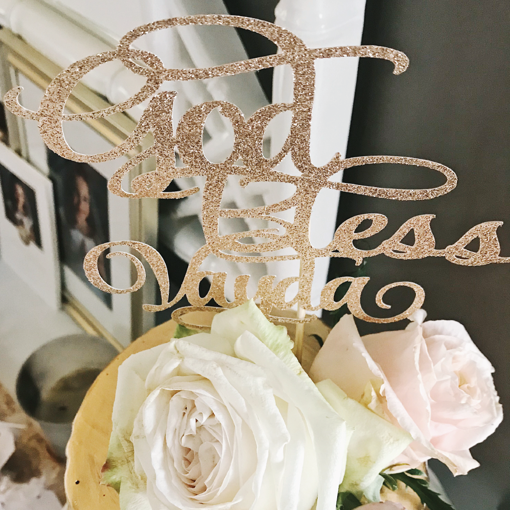Gold God Bless Cake Topper for First Holy Communion
