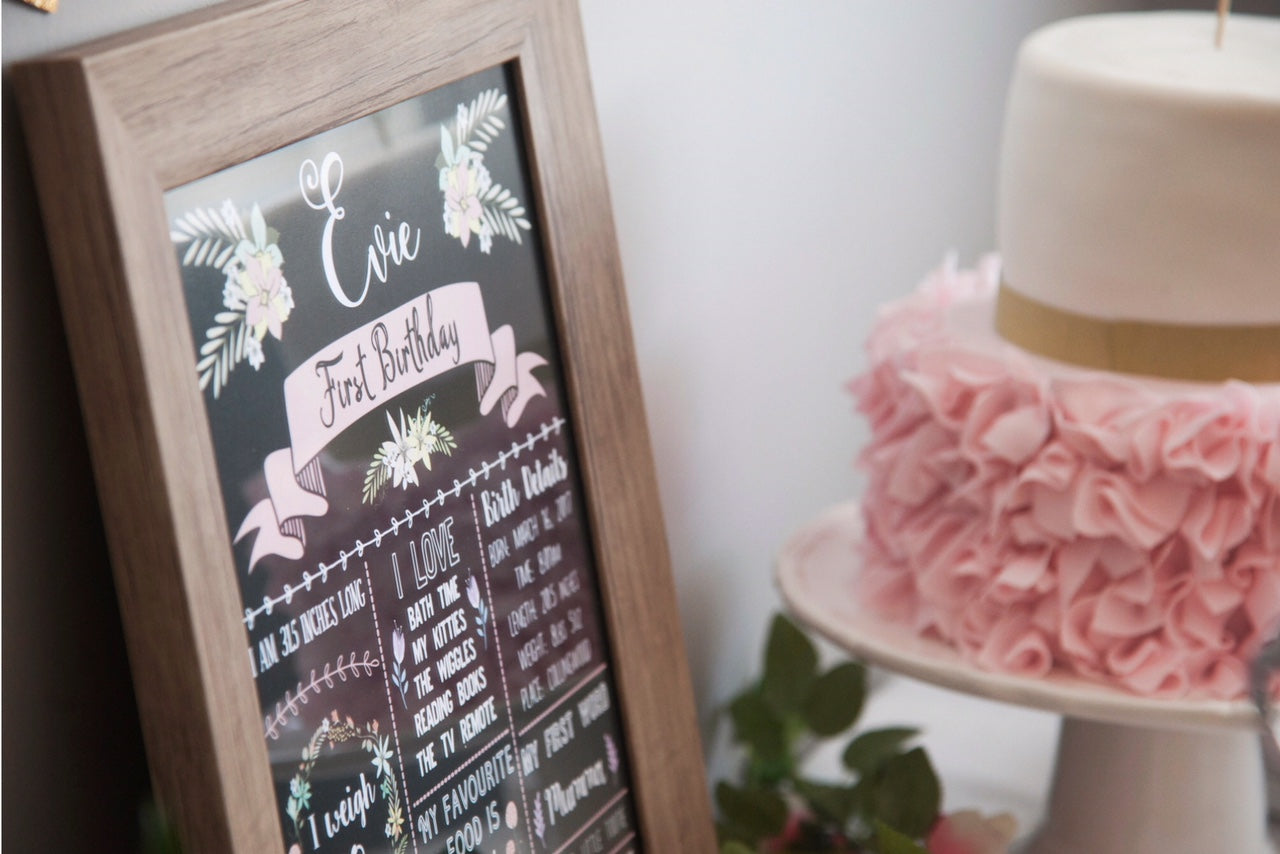 pink and gold 1st birthday chalkboard