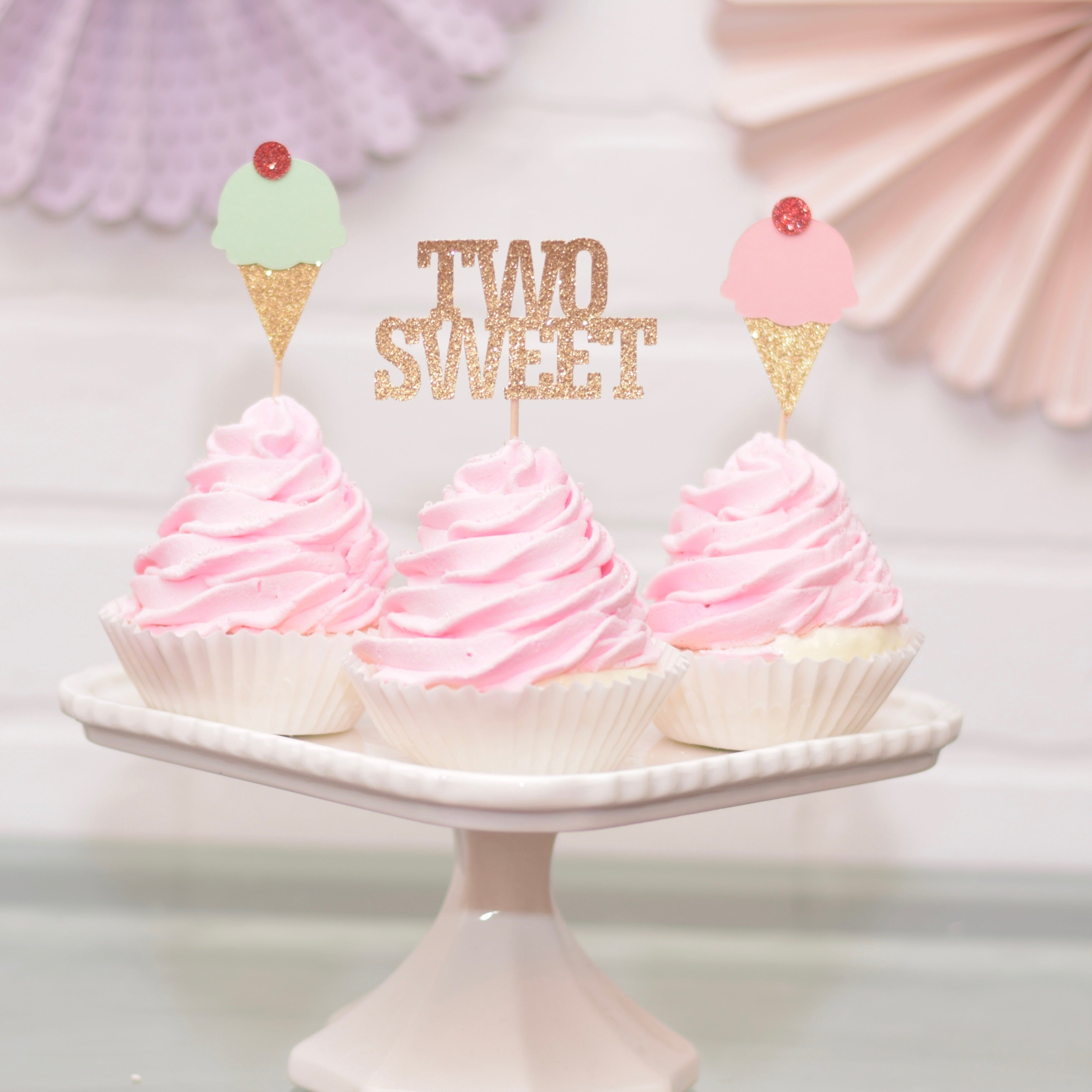 pink and mint ice cream birthday toppers