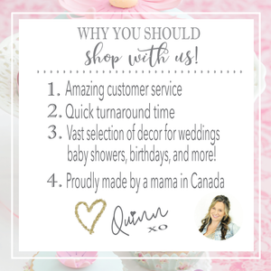 Image of Why you should shop with us and 4 different reasons signed by Quinn the owner of Sugar Crush Co