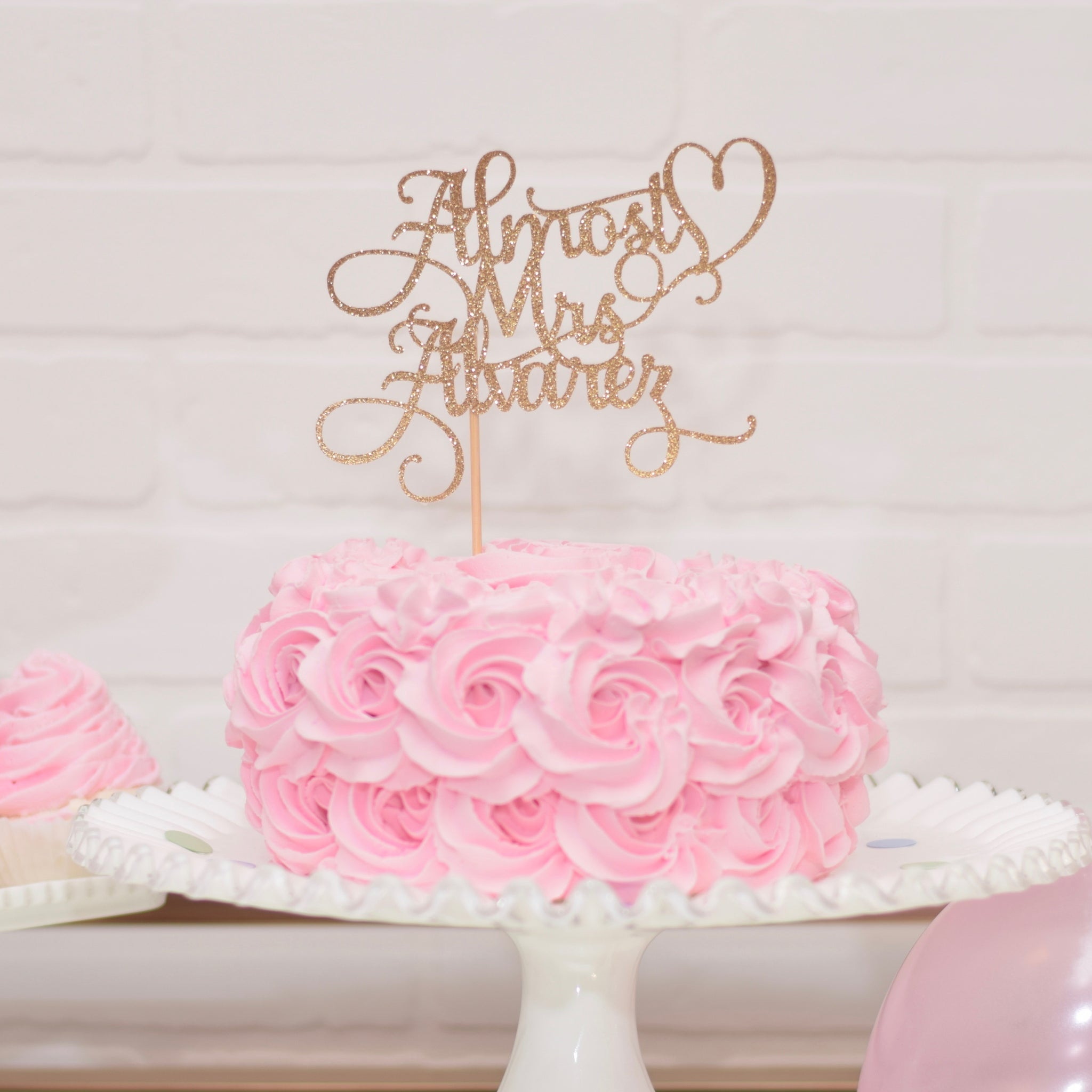 Almost Mrs Personalized Bridal Shower Cake Topper - Sugar Crush Co.