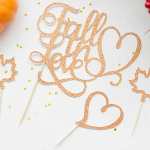 fall wedding cake topper and cupcake toppers