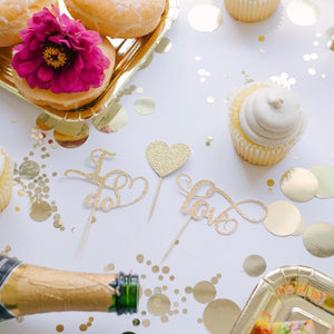 champagne, cupcakes and flowers