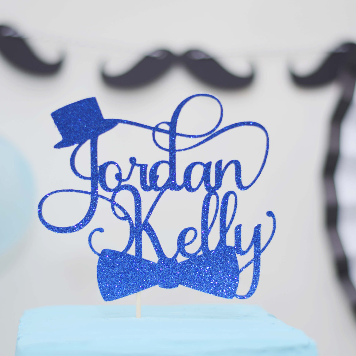Little man blue cake topper with top hat and bowtie for little man birthday or Mr ONederful party