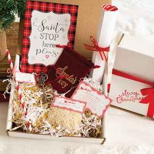 Christmas Eve box with Santa's key, sign, nice list certificate and reindeer food