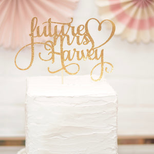 Gold Bridal Shower Cake topper with heart