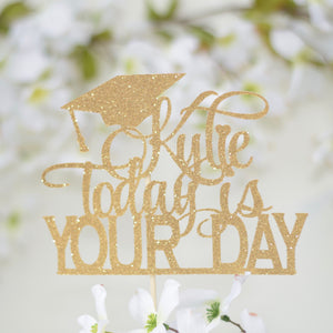 Gold Graduation Cake Topper with hat