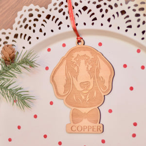 Daschund Ornament for Christmas Tree, Dog Decoration Gift Customized with Name