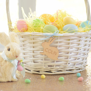 White easter basket with Bunny tag with name