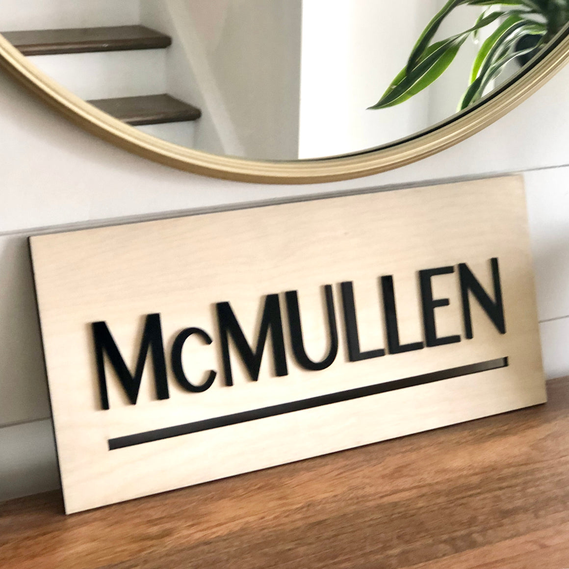 Family Name Sign with Last Name Modern Farmhouse Style Gift for Newlyweds, Father or Husband