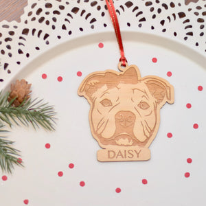 Girl French Bully with bow in her hair and name laser cut wooden ornament