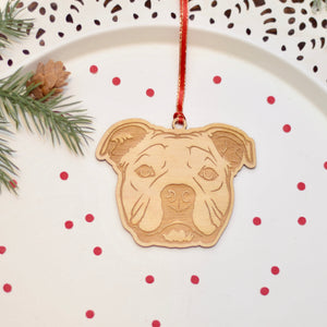 laser cut wood ornament for French bully gift