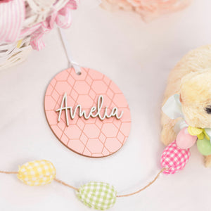 Pink Easter Basket Tag Personalized with Name