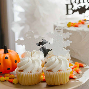 white ghost cupcake toppers for halloween